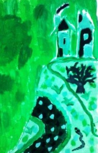 Krajina, tempera, chlapec 7 let