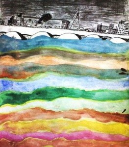Voda, kolorovaná kresba, děvče 7 let