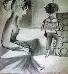 Kresba, děvče 12 let