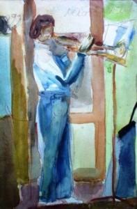 Akvarel, děvče 15 let